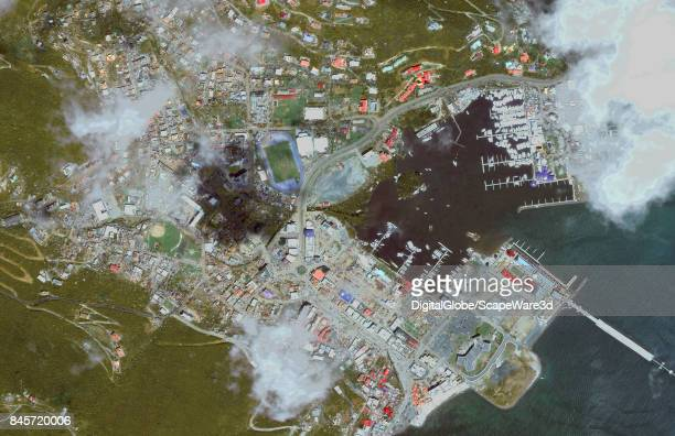 This is an 'after' DigitalGlobe satellite imagery of Road Town British Virgin Islands after being struck by Hurricane Irma