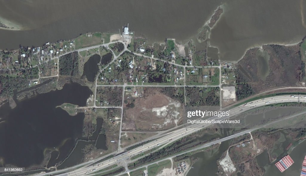 This is an 'before' DigitalGlobe satellite imagery of the Houston Floods of the San Jacinto River basin at Medowbrook Park before Hurricane Harvery.