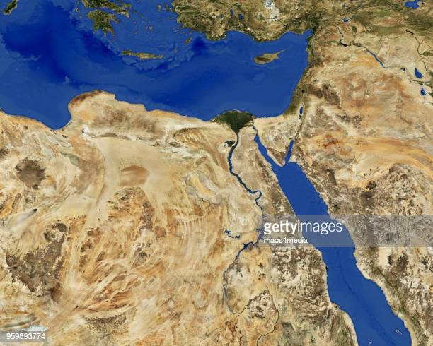 This is an enhanced overview imagery map of Egypt without borders