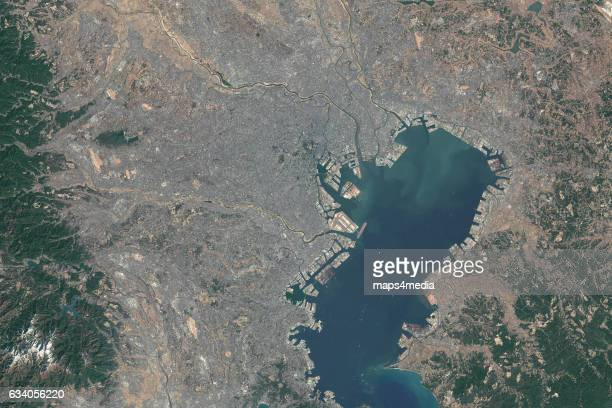 This is an enhanced overview Sentinal Satellite Image of Tokyo Bay Japan