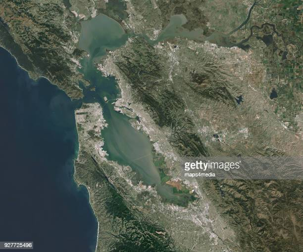 SAN FRANCISCO OAKLAND CALIFORNIA FEBRUARY 2018 This is an enhanced Satellite Image of the San Francisco and Oakland