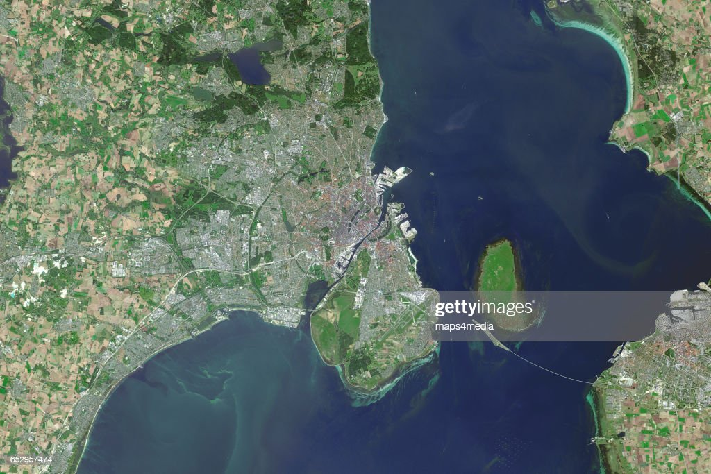This is an enhanced Sentinel Satellite image map of Copenhagen, Denmark.