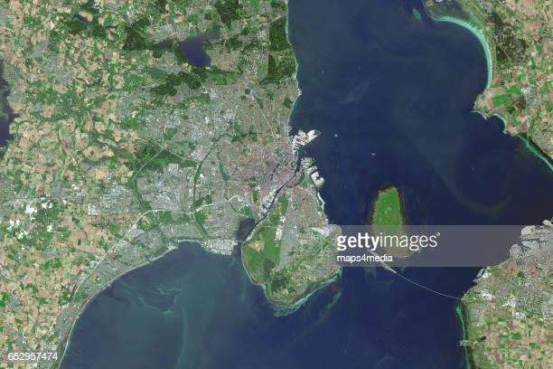 This is an enhanced Sentinel Satellite image map of Copenhagen Denmark