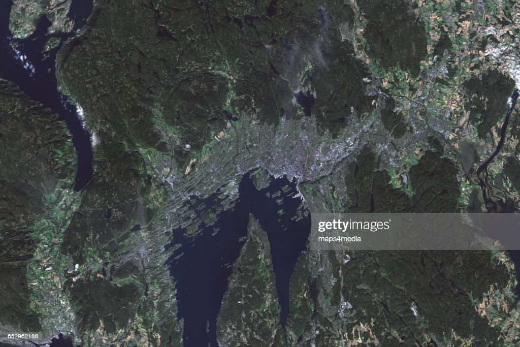 This is an enhanced Sentinel Satellite image map of Oslo, Norway.