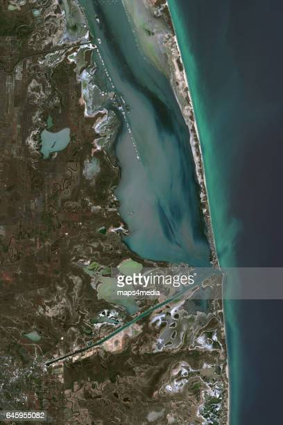 This is an enhanced Sentinel satellite image of South Padre Island Texas