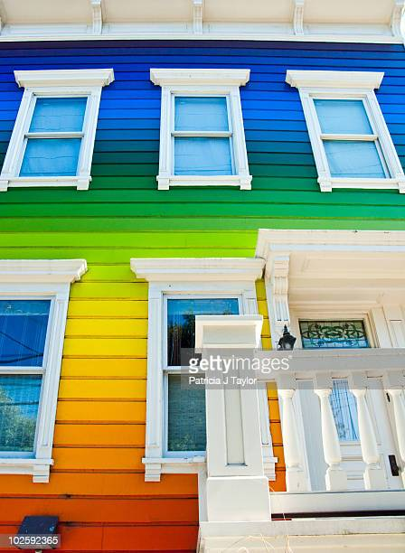 This is an image of a rainbow colored house in San Francisco, California.This image was taken on May 20, 2009.