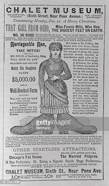 This is an old time poster with the reading ofThat Girl from Ohio Miss Fannie Mills who has the biggest feet on earth