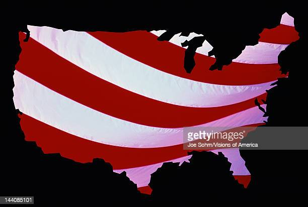 This is an outline of a map of the United States The inside of the map has the red and white stripes of the American flag and the map is set against...