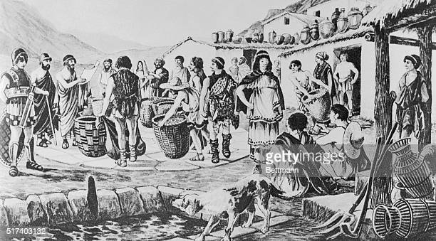This is an undated drawing of the levying of taxes in Ancient Greece The people are paying their taxes with baskets of grain