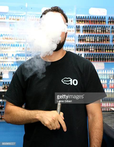 This is at Cloud 10 in Simi Valley CA a popular electric cigarette store Store employee demonstrates how they work Santa Monica just passed the law...