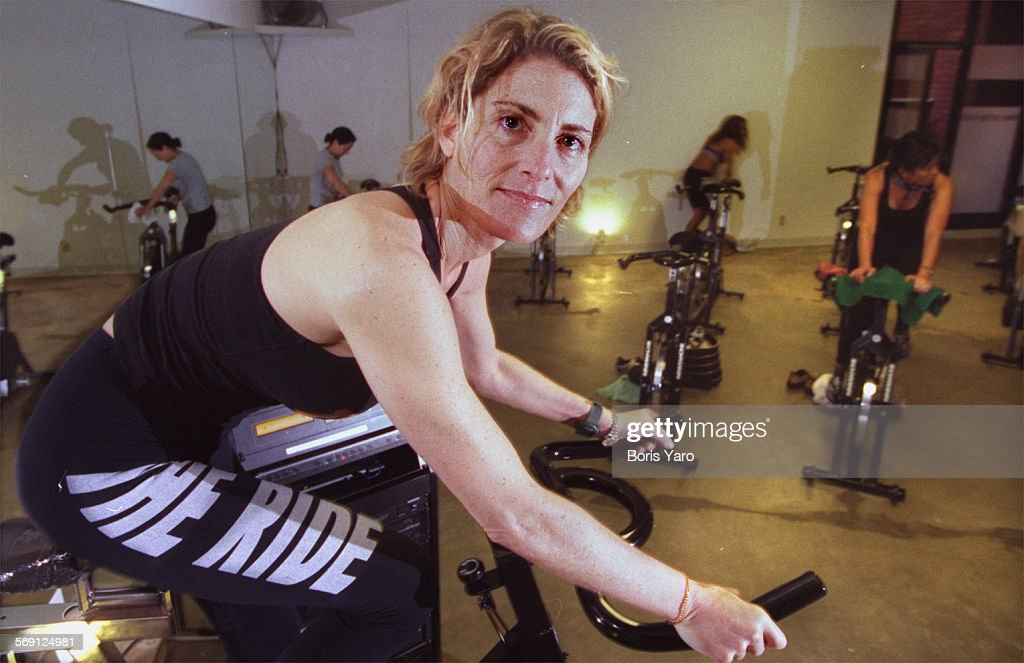 "This is Debbie Rocker (cq) who teaches ""The Ride"" which combines Yoga with exercycling in her Sherma : News Photo"