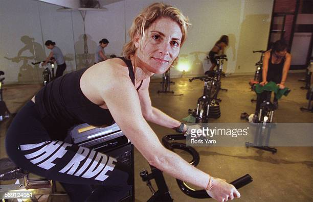 This is Debbie Rocker who teaches The Ride which combines Yoga with exercycling in her Sherman Oaks gym