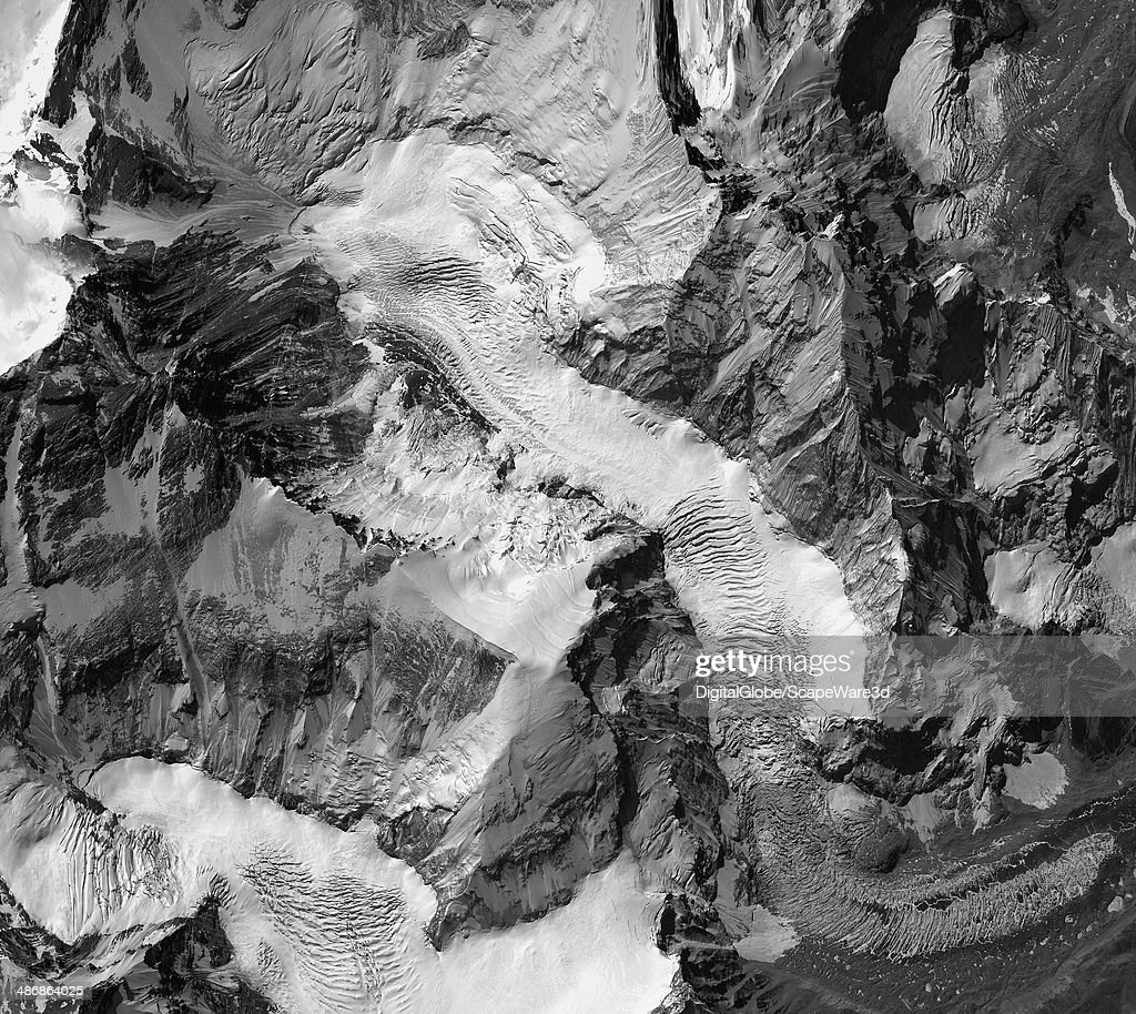 This is DigitalGlobe imagery of the avalanche on Mount Everest near Everest Base Camp that killed sixteen Nepalese guides. : News Photo