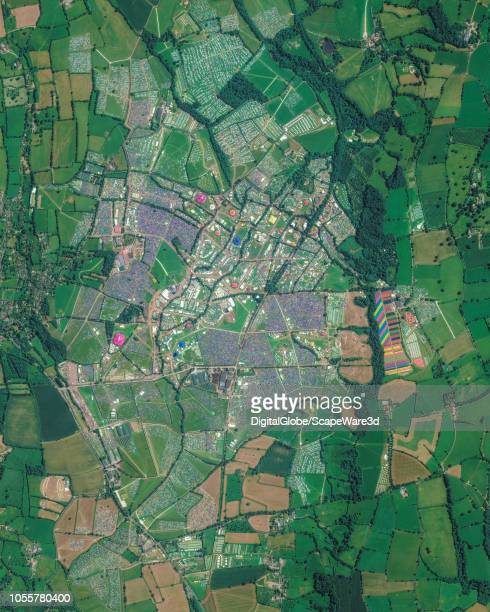 This is DigitalGlobe via Getty Images overview satellite imagery of the Glastonbury Music Festival just south of Pilton in the UK