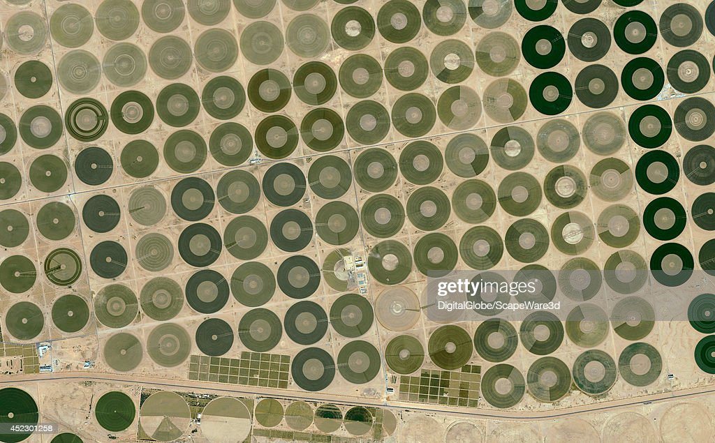 This is DigitalGlobe satellite imagery of central pivot irrigation farm fields near Hail in Saudi Arabia. : News Photo