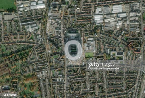 This is DigitalGlobe via Getty Images satellite imagery of Tottenham Hotspur Stadium London United Kingdom