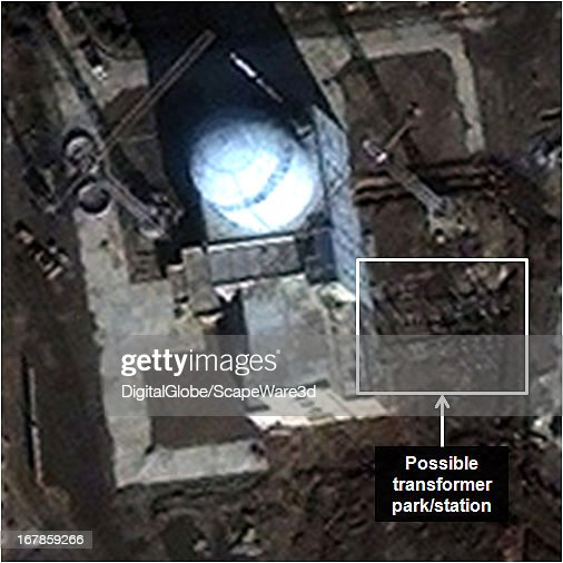 """This is Figure 7. a time progression of the experimental light water reactor (ELWR) development at the Yongbyon Nuclear Facility in North Korea. Featured in """"Start-Up of North Korean Experimental Light Water Reactor Could Begin by Mid-2013 If Fuel is Available,"""" published on 38 North. Figure 7: November 13, 2012 (transformer station under construction)."""
