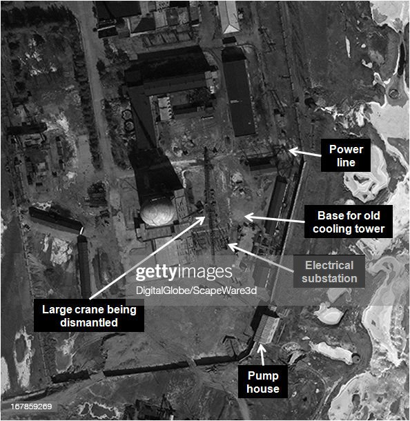 """This is Figure 9. a time progression of the experimental light water reactor (ELWR) development at the Yongbyon Nuclear Facility in North Korea. Featured in """"Start-Up of North Korean Experimental Light Water Reactor Could Begin by Mid-2013 If Fuel is Available,"""" published on 38 North. Figure 9: February 7, 2013 (reactor building complete, cleanup underway)."""