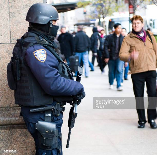 This is image of NYPD ESU ,K-9, Highway Division and Counter Terrorism Unit jointly conducting a high-visibility terrorism deterrent operation called...
