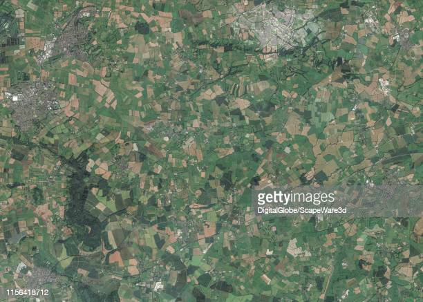 This is Maxar satellite imagery of the Glastonbury region of the landscape zodiac in the United Kingdom