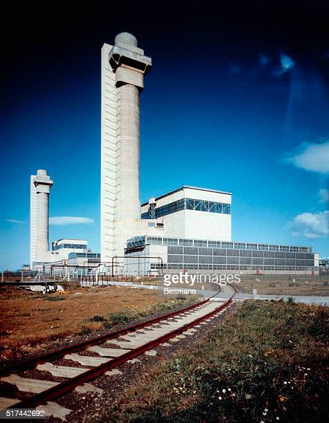 This is one of Britain's atomic factories the Windscale Plutonium producing factory at the Sellafield in Cumberland The filters at the top of each of...