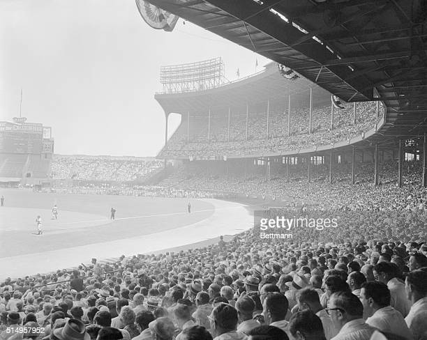 This is part of the huge crowd at Cleveland Stadium for the 1954 All Star game