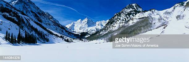 This is Pyramid Peak in the Maroon Bells after a winter snow storm The altitude is 14010 feet