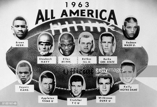 This is the AmericanFootball Coaches Association's AllPro 1963 football team The team includes Staubach Navy Crutcher TSU Sayers Kansas Wilkenson...