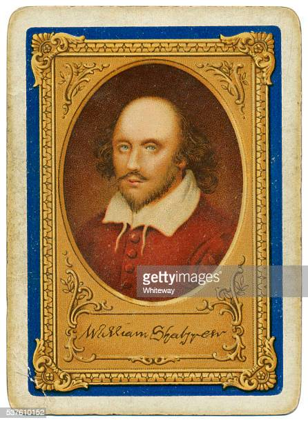 shakespeare portrait goodall playing card back tercentenary of death 1916 - william shakespeare stock photos and pictures