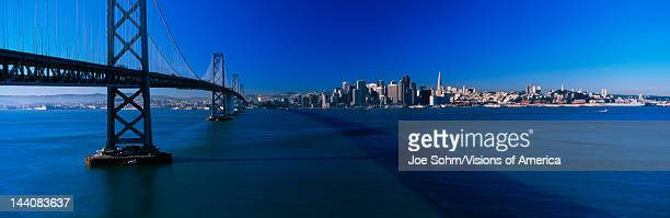 This is the Bay Bridge and skyline in morning light, It is the view from Treasure Island.