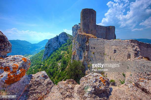 This is the Chateau of Peyrepertuse, an old Cathar Castle in the Aude region of France dating from the 11th century. It is 800m above sea level and a...