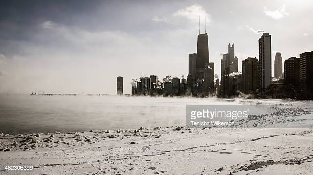 This is the Chicago Skyline from North Avenue Beach looking South, during the Polar Vortex as steam rose from Lake Michigan. Record breaking temps...