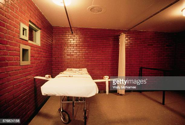This is the death chamber at the Huntsville TX State Prison where those prisoners sentenced to the death penaty are put to death by lethal injection...
