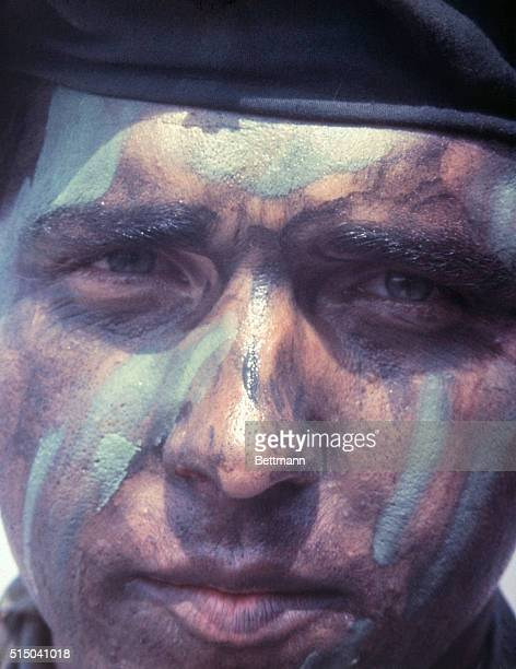 This is the electrician's mate Third Class Joseph Jaunzems a member of U S Navy Seal Team One as he wears camouflaged grease paint used by Seals...