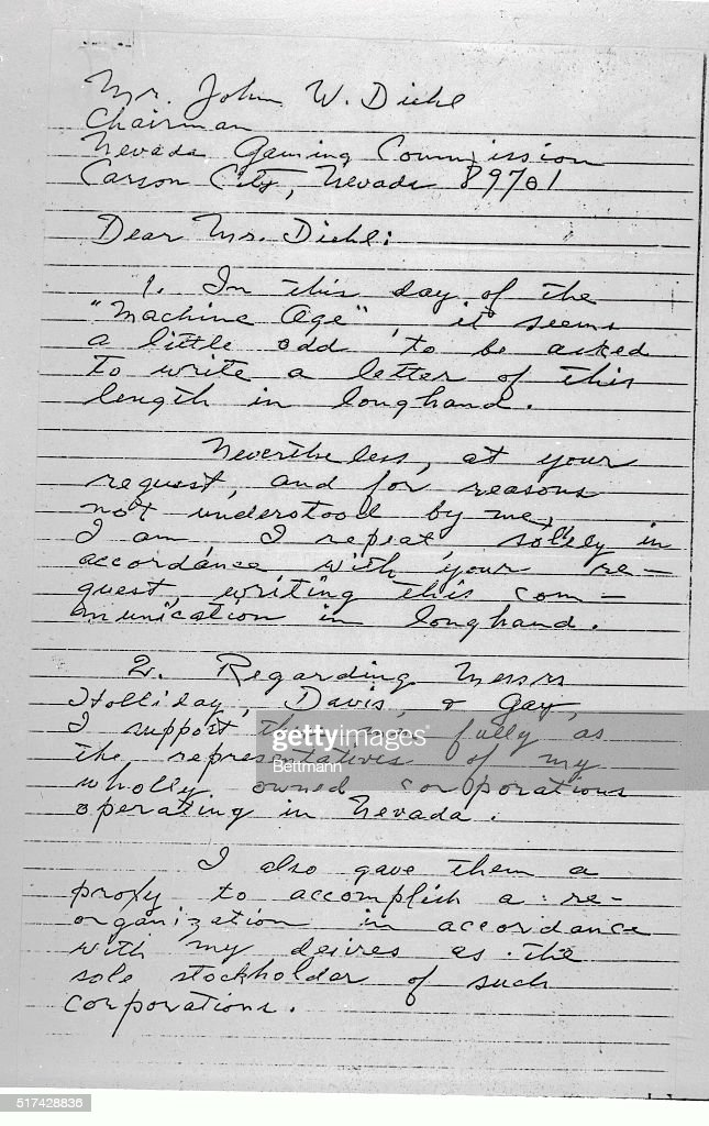 View of letter written by howard hughes pictures getty images this is the first page of a letter purportedly written by howard hughes which stressed the thecheapjerseys Image collections
