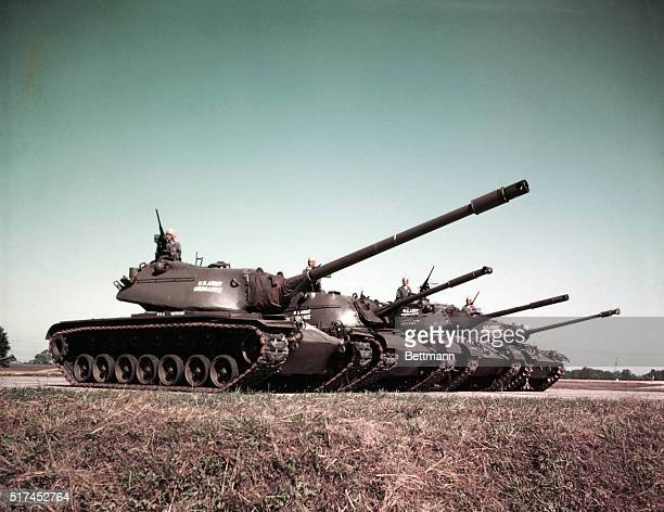 This is the first released view of the whole 'family' of modern post World Ward II tanks designed and procured by Army ordinance for the ground...