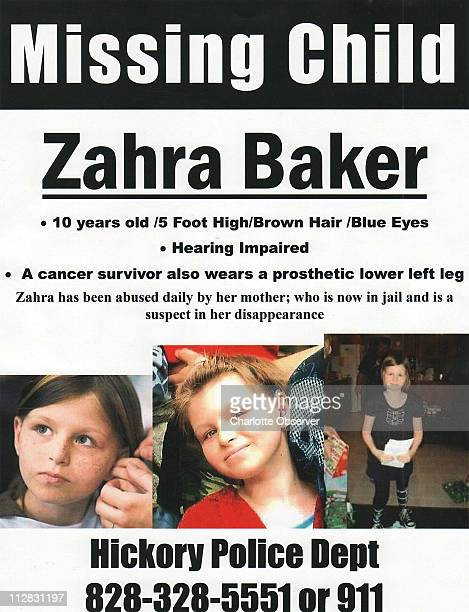 This is the flyer passed out by relatives of missing 10yearold Zahra Baker October 11 2010 Hickory North Carolina police said late Tuesday morning...