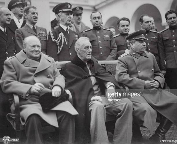 This is the historic meeting of Roosevelt Churchill and Stalin at Yalta in the Crimea February 1945
