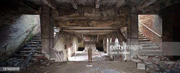 This is the interior of the Gary Memorial Auditorium building Only the lobby section remains following a 1997 fire which destroyed the rest