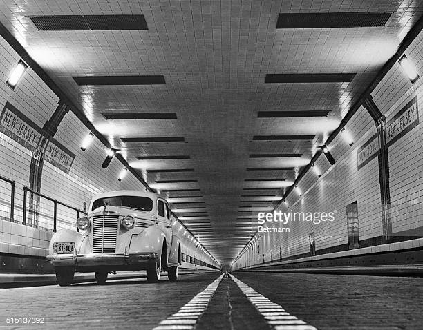This is the interior of the new Lincoln Tunnel which will be opened to traffic December 21 connections New Jersey and Manhattan This picture was...