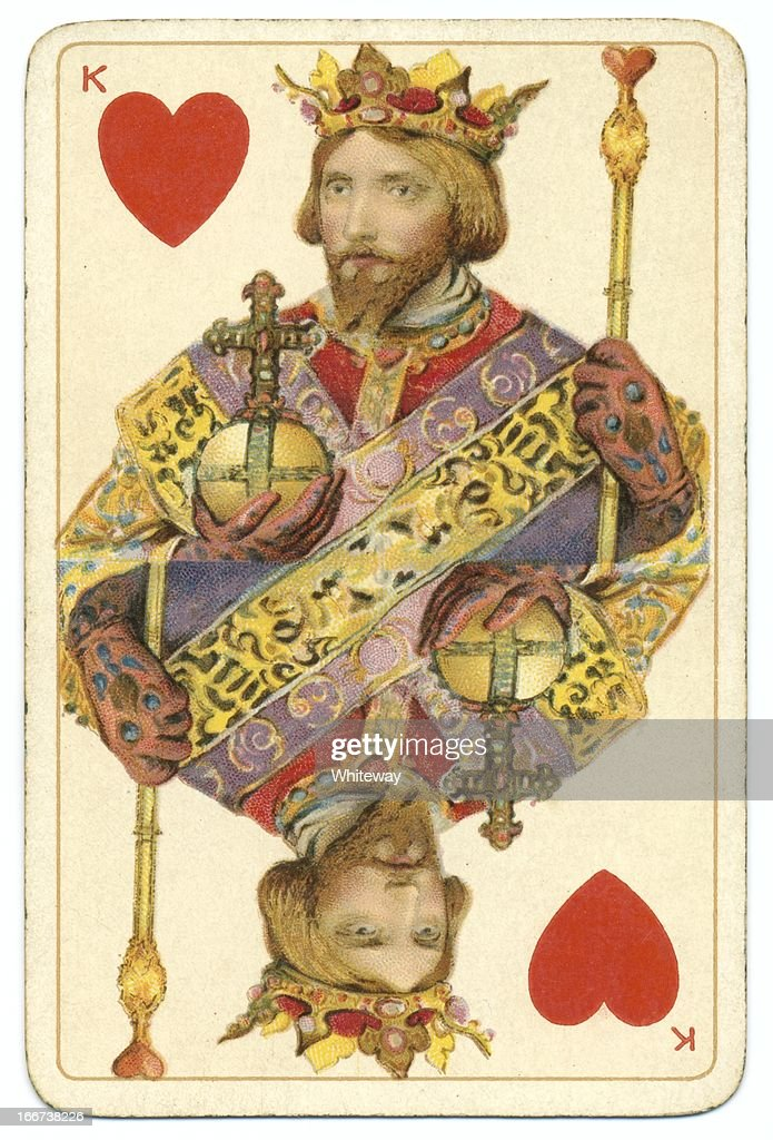 King of Hearts Dondorf Shakespeare antique playing card : Stock Photo