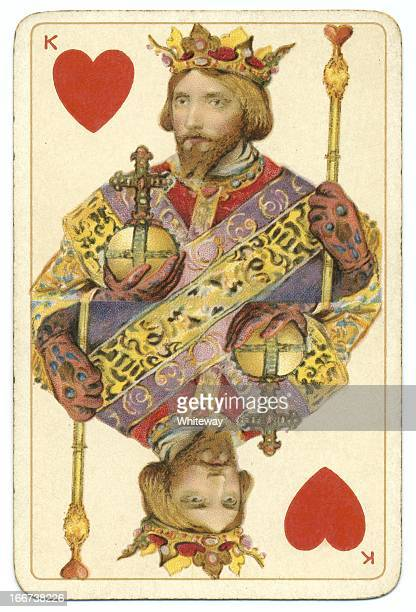 king of hearts dondorf shakespeare antique playing card - hearts playing card stock photos and pictures