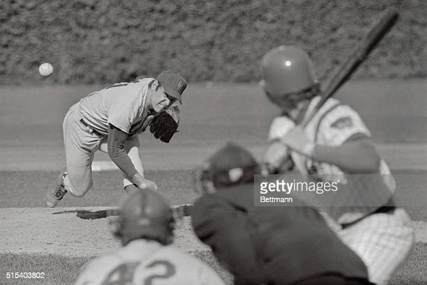 This is the pitch that spoiled a no-hit game for Met's pitcher Tom Seaver in Wrigley Field on September 24th. Seaver throws the ball with two outs in...