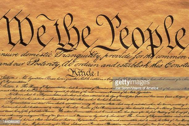 This is the Preamble to the US Constitution It starts with the phrase We The People and shows only some of the writing from the upper left hand...