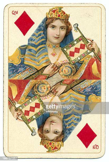 queen of diamonds dondorf shakespeare antique playing card - henry viii of england stock photos and pictures