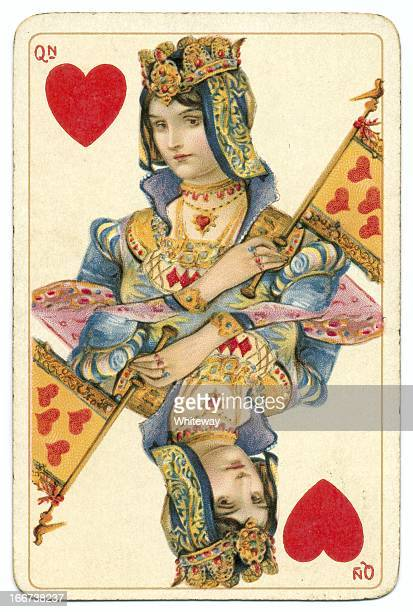 queen of hearts rare dondorf shakespeare antique playing card - lithograph stock pictures, royalty-free photos & images