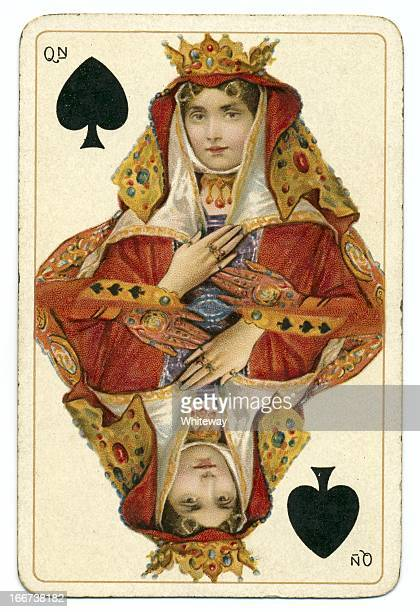 queen of spades dondorf shakespeare antique playing card - lithograph stock pictures, royalty-free photos & images