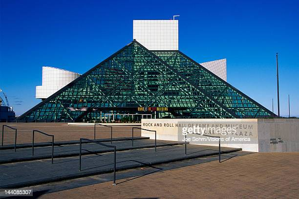 This is the Rock Roll Hall of Fame and Museum at One Key Plaza It shows the glass pyramid architecture