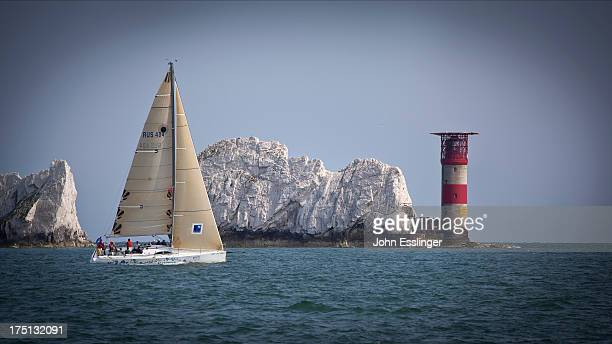 This is the sailing race from Cowes, Isle of Wight, UK to St Malo, France. The Needles Lighthouse is off of the tip of the Isle of Wight. The chalky...
