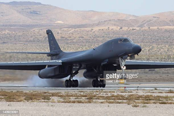 This is United States Air Force Rockwell B1-B bomber landing at Nellis AFB.